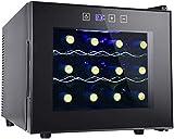Weinkühlschrank von 12 Flaschen - Freistehender Weinkeller für Rot, Weiß, Champagner oder Sekt, Weinkühlschränke Digitale Temperaturregelung Kühlschrank Glastür - Schwarz