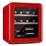 Klarstein Vinetage Uno Weinkühlschrank, Temperatur: 4-22 °C, Kompressor, 2 Holzregalebenen, LED-Beleuchtung, UV-Schutz, Weinkühler, Klein, Freistehend, 46 Liter / 12 Flaschen, Rot