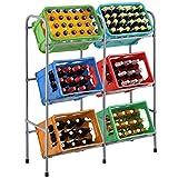 Juskys Getränkekistenregal Cool für 6 Kisten - Metall schmal & platzsparend 96 x 34 x 116 cm - 3 Ebenen Regal Getränkekisten Kistenregal Getränkeregal