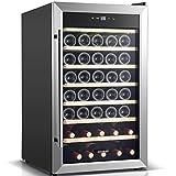 BODEGA Weinkühlschrank,128 Liter Weinkühler Großer Freistehender Weintemperierschrank für Rotweinen, Weißwein, Champagner, Sekt, 5-18 ºC Digitaler Temperaturregler, LED-Display