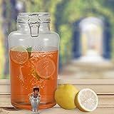 DRULINE 3L Getränkespender mit Hahn Enjoy Dispenser Zapfhahn Zapfsäule Glaskanne Spender (1 Stück)