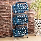 Ribelli Flaschenkastenregal für genormte Getränkekisten,Euroboxen o. Klappboxen - Getränkekistenregal aus grau lackiertem Stahlrohrgestell - Anzahl Kisten (3 Kisten grau)
